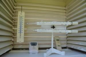Meine neue Wetterhütte mit Minimum- und Maximumthermometer