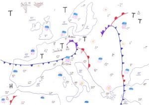 Handgezeichnete Wettervorhersage Europa